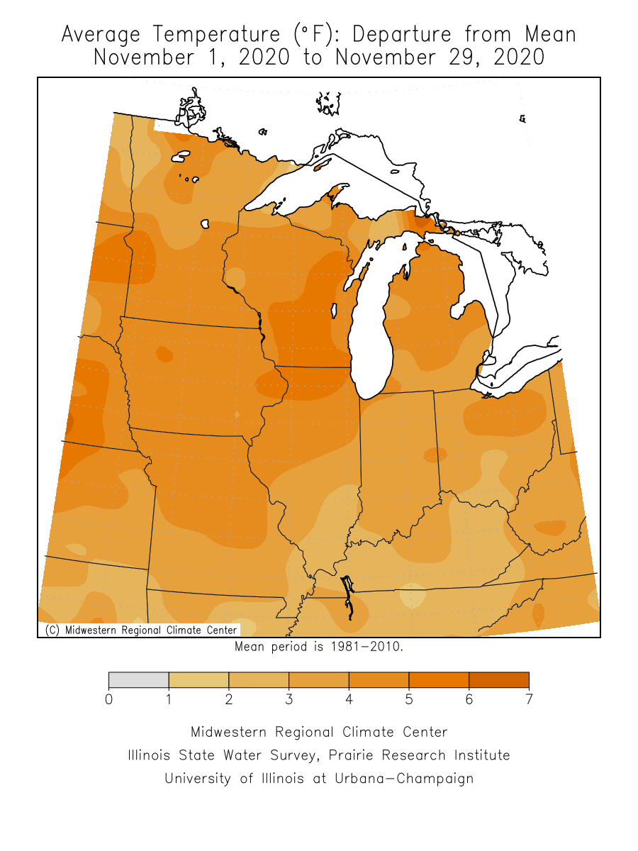 Temperature departure from average this month