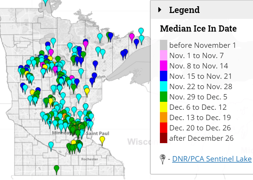 Median lake ice-in dates
