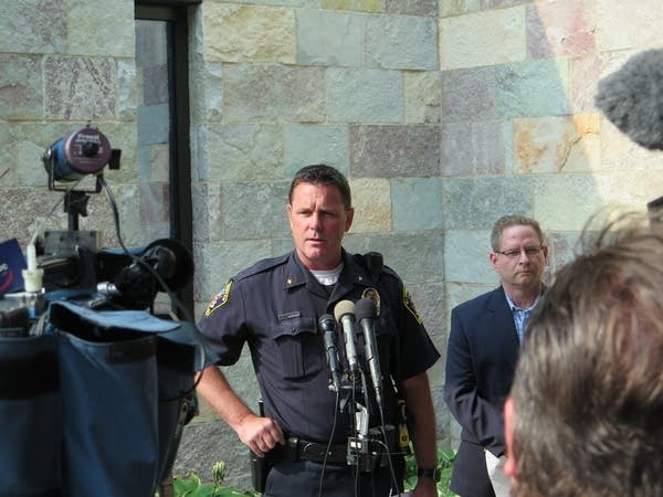 Bloomington police chief Jeff Potts addresses the media