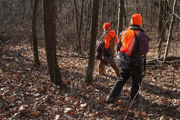 Emily Iehl and Beth Wojcik set out to find an open spot to wait for deer.