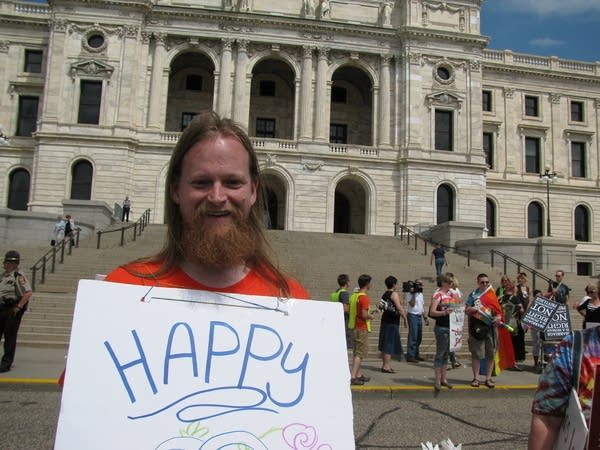 Same-sex marriage supporter at Capitol