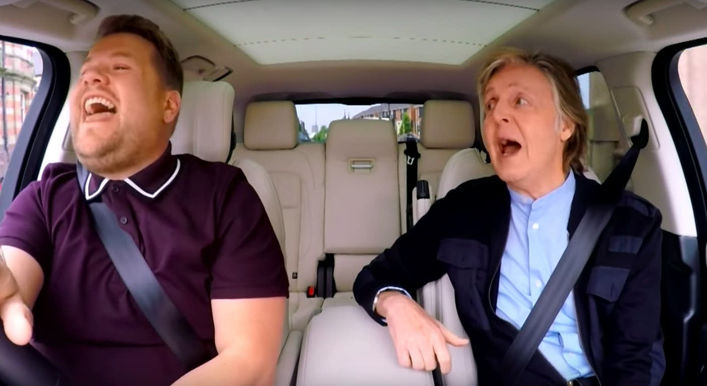 James Corden and Paul McCartney sing 'Carpool Karaoke.'