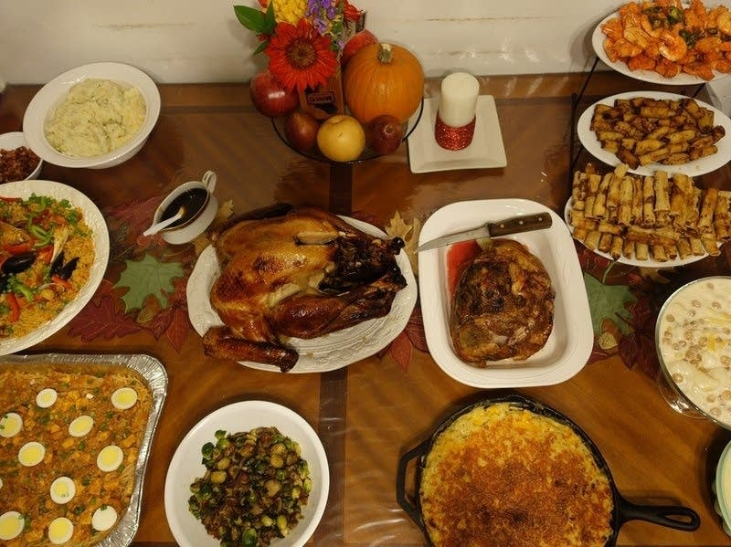 PJ Policarpio's Thanksgiving spread last year.