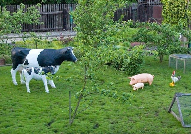 fake farm animals in a yard