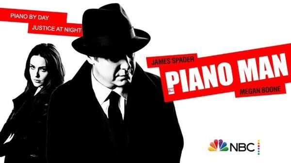 "Ad for fake TV show ""Piano Man"" w/ B&W James Spader & Megan Boone"