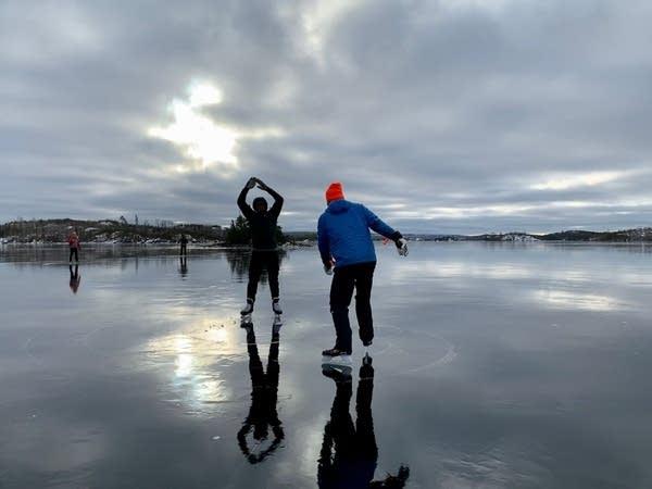 Skating on Seagull Lake in the BWCA