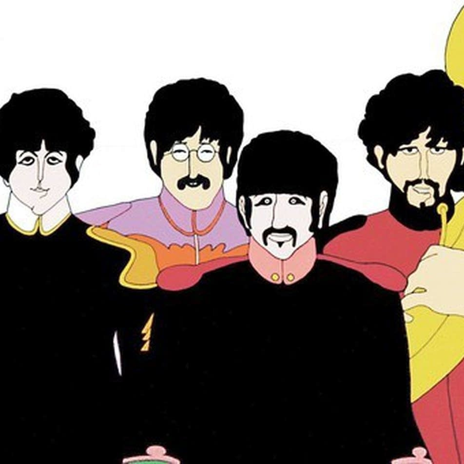 The Beatles in animated form in 'Yellow Submarine.'