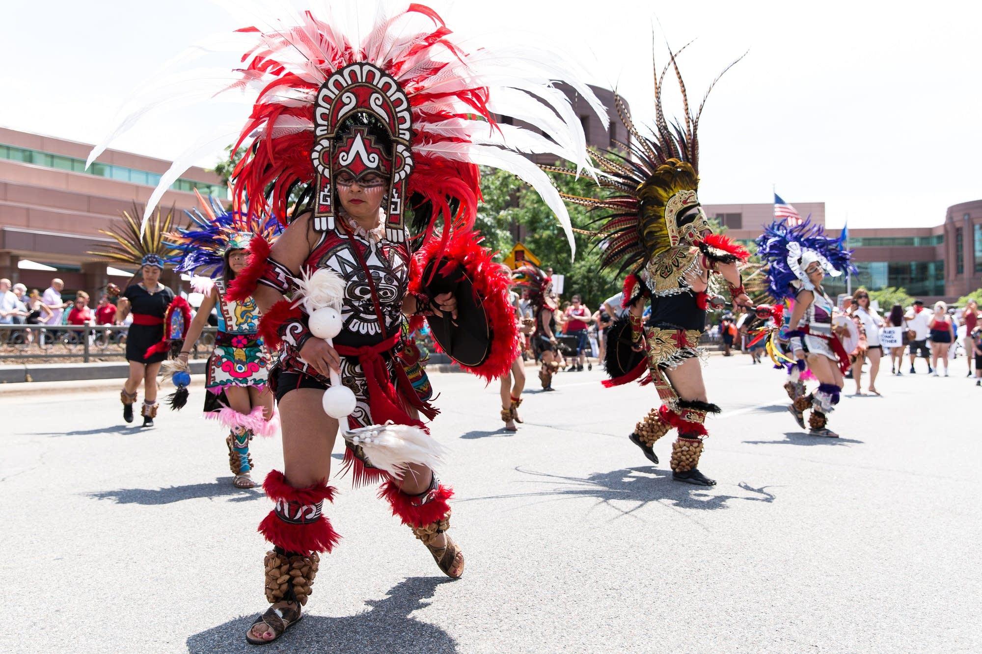 Members of the traditional Aztec dance group Kalpulli Ketzal Coatlicue.