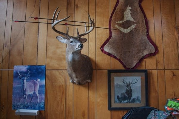 A deer head and set of antlers at Tom Wrasse's hunting shack.