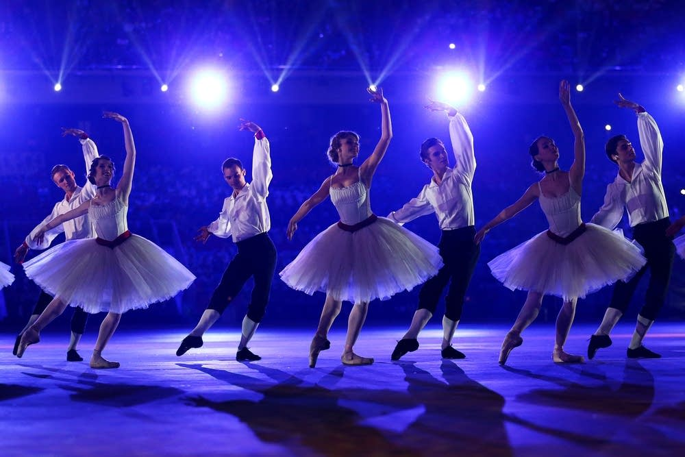 Dancers perform a celebration of Russian ballet
