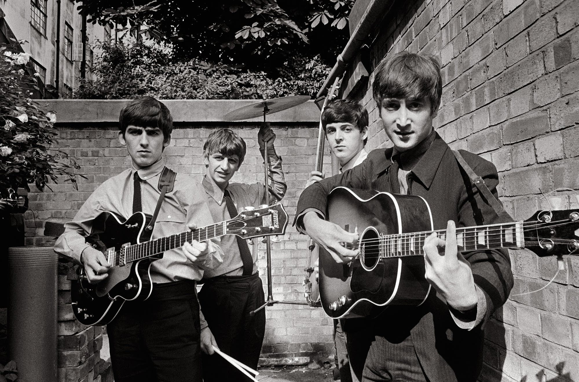 The first major group portrait of the Beatles