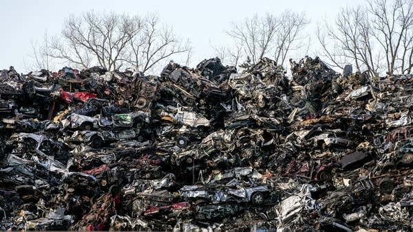 A pile of crushed cars.