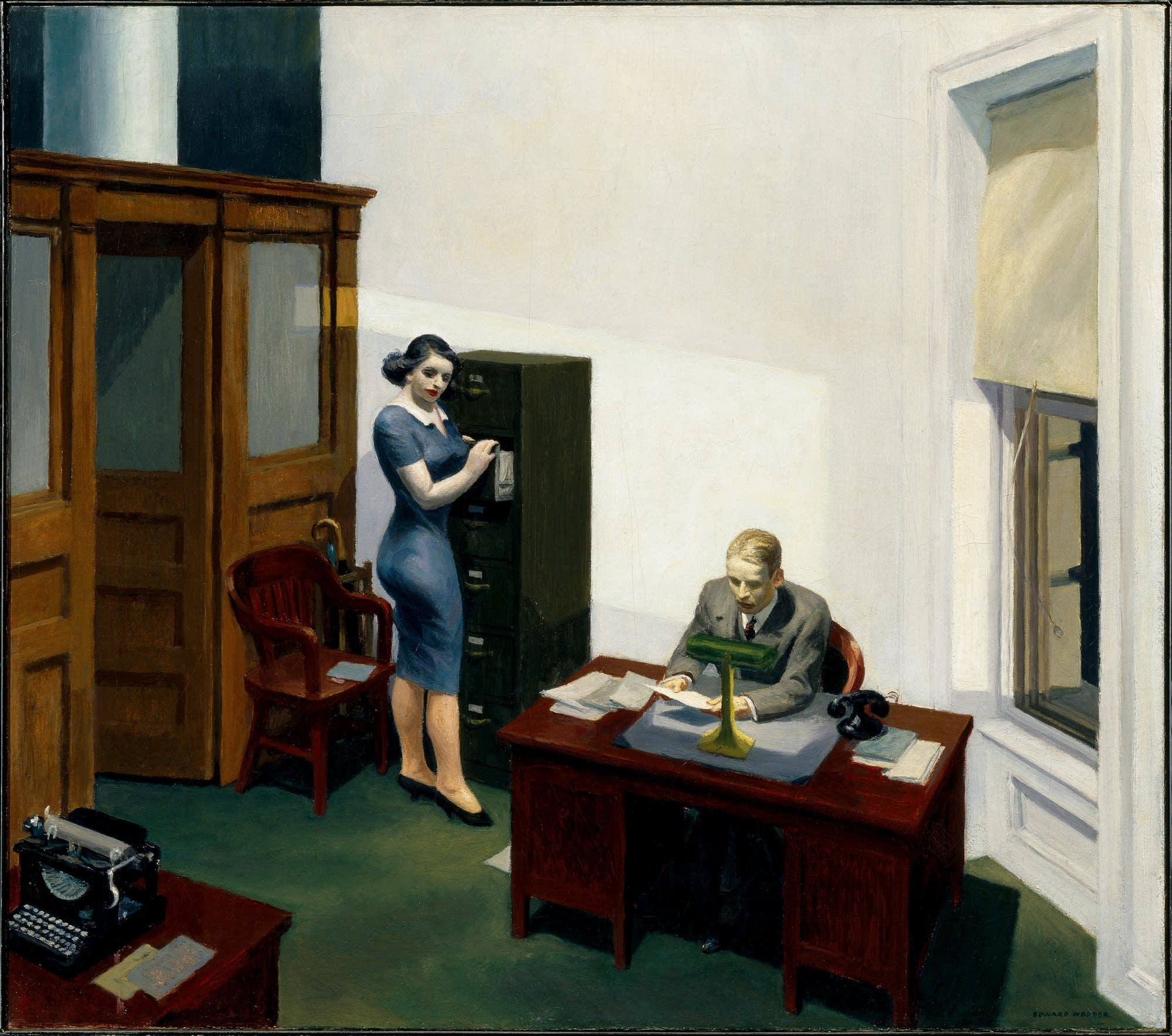 "Edward Hopper's 1940 piece ""Office at Night"""