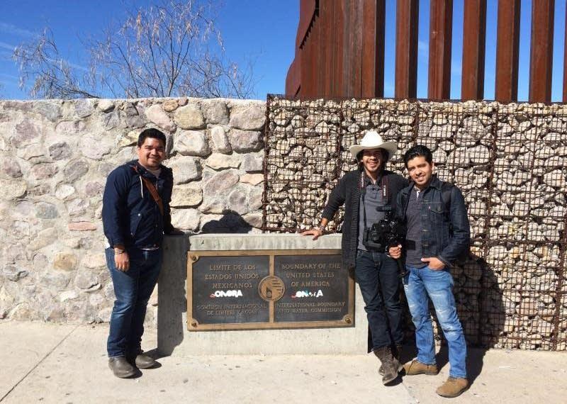 Yonathan Moya, Jordan Moya and Jonathan Baez at the U.S.-Mexico border.