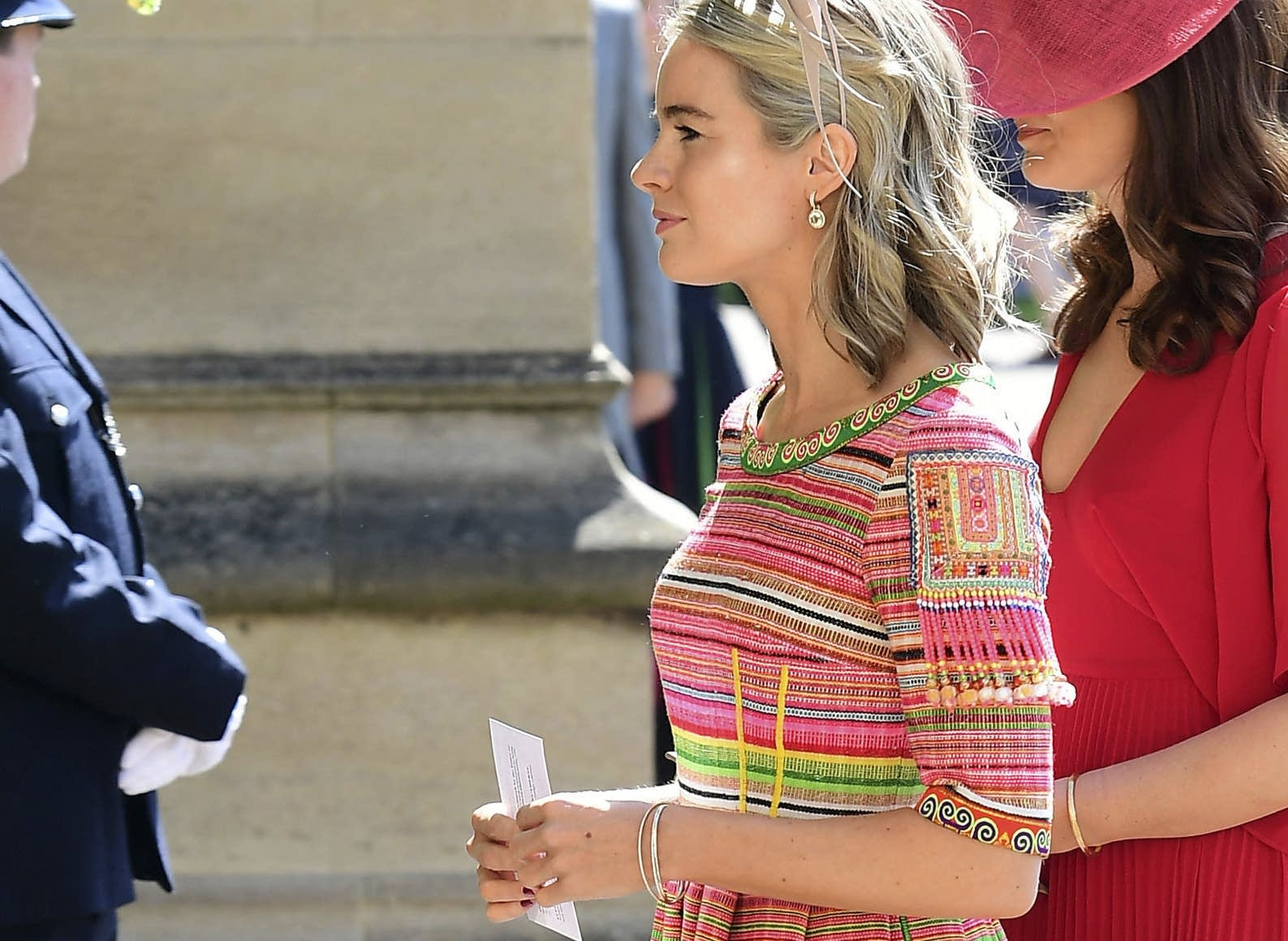 Cressida Bonas wears a dress with Hmong designs to the royal wedding.