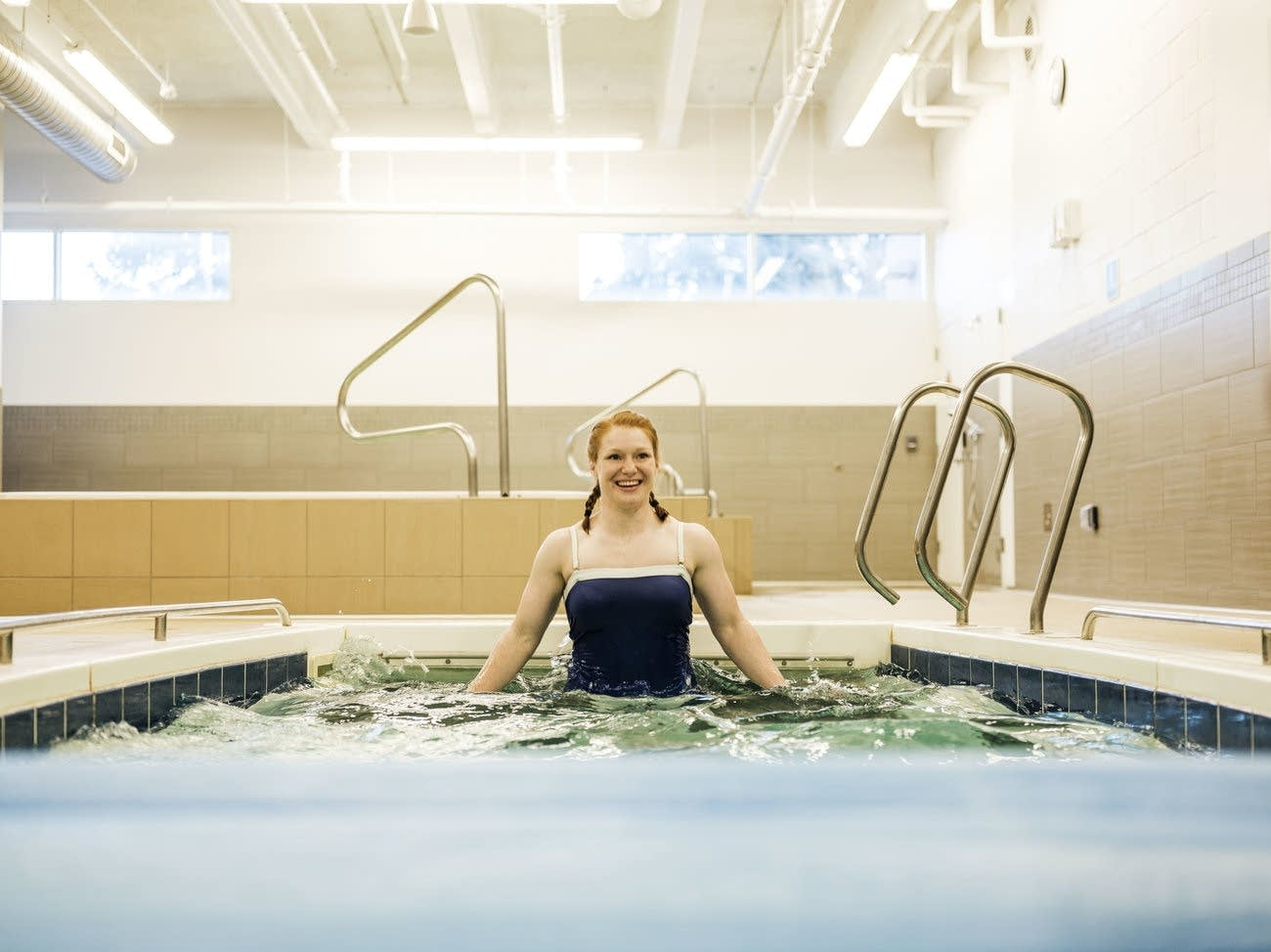 Team USA wrestler Jennifer Page trains in a pool.