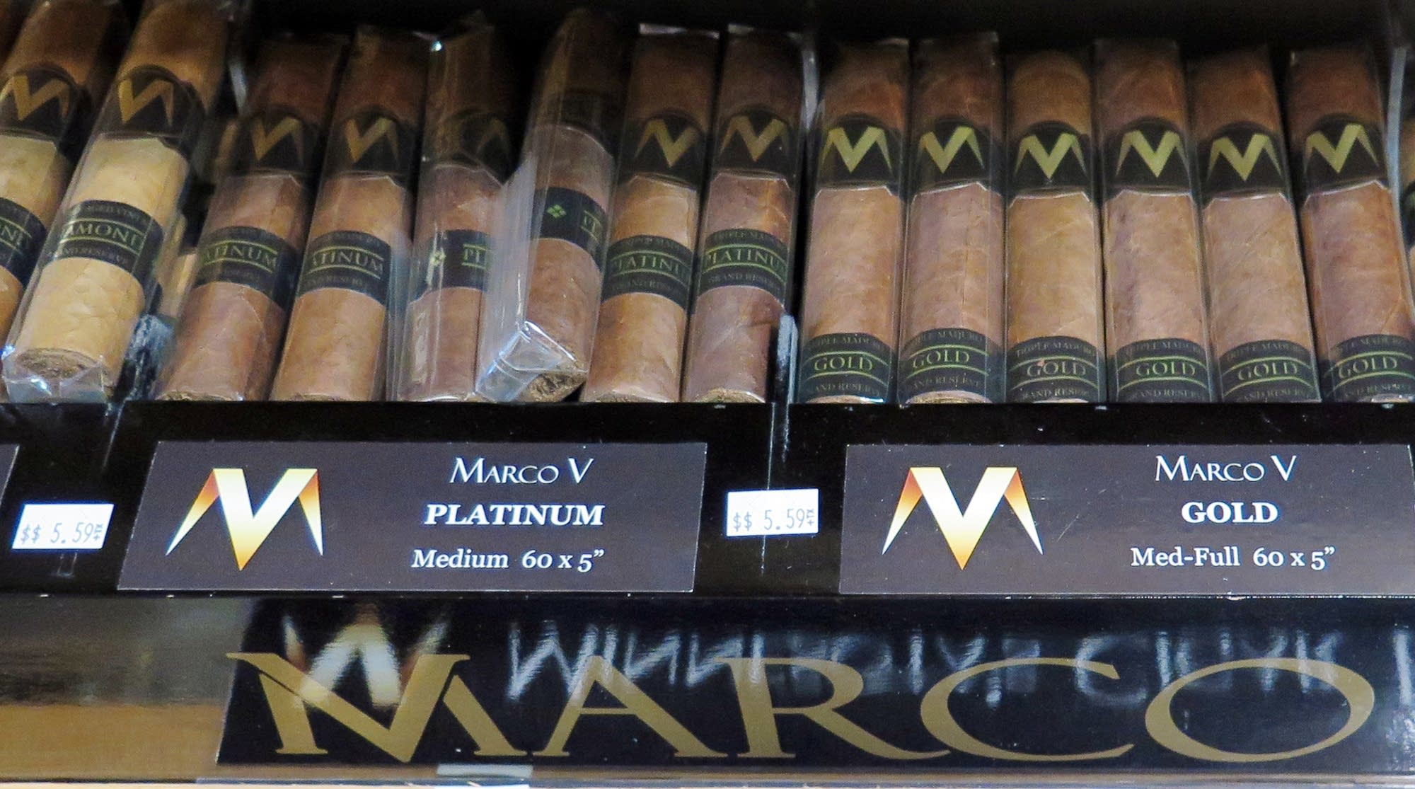 Premium cigars are on display at Maplewood Tobacco and E-Cig Center.