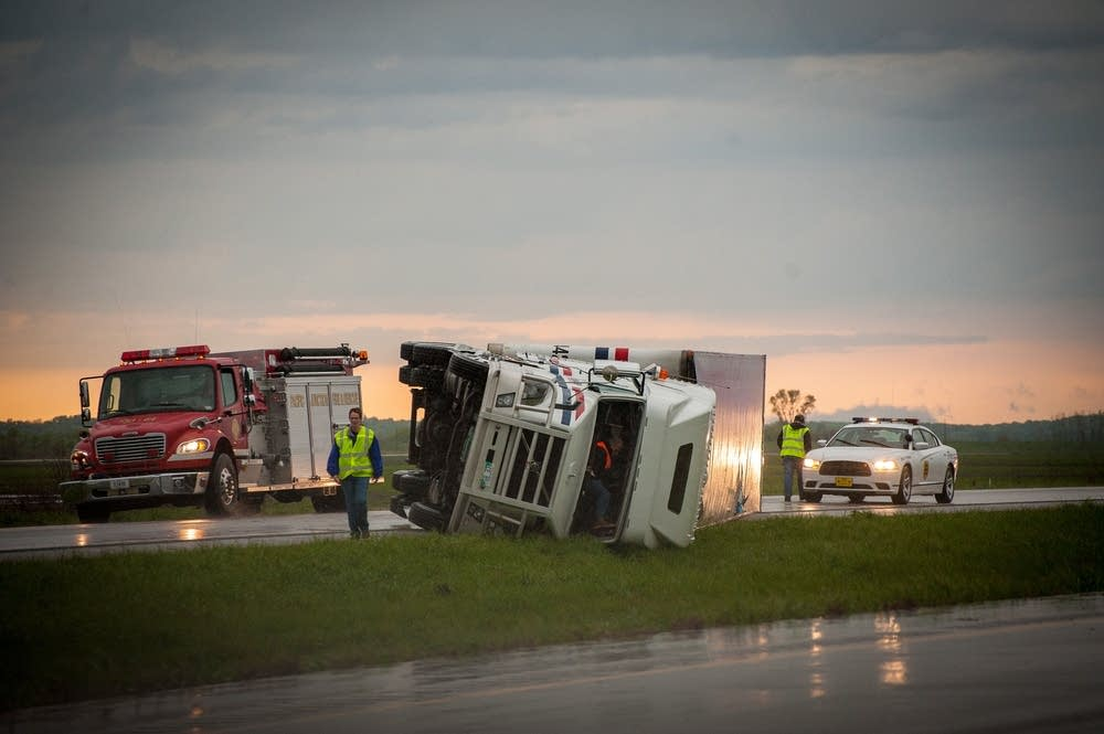 Overturned tractor-trailers