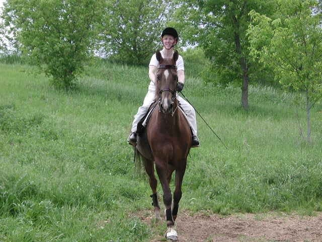 Jill Krimmel riding Custer