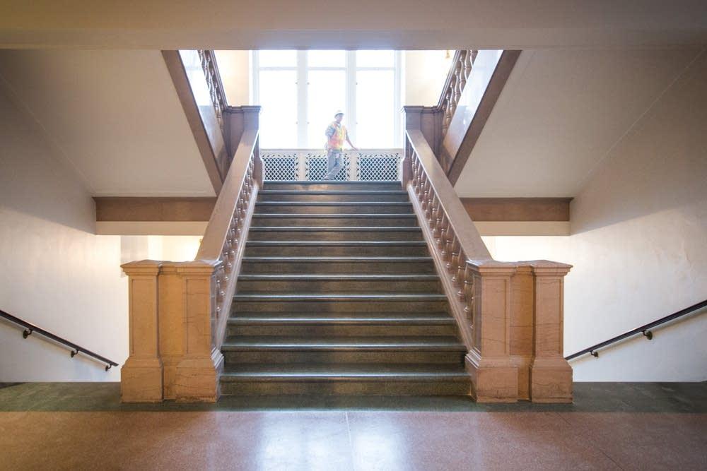 A stairway at Northrop Auditorium
