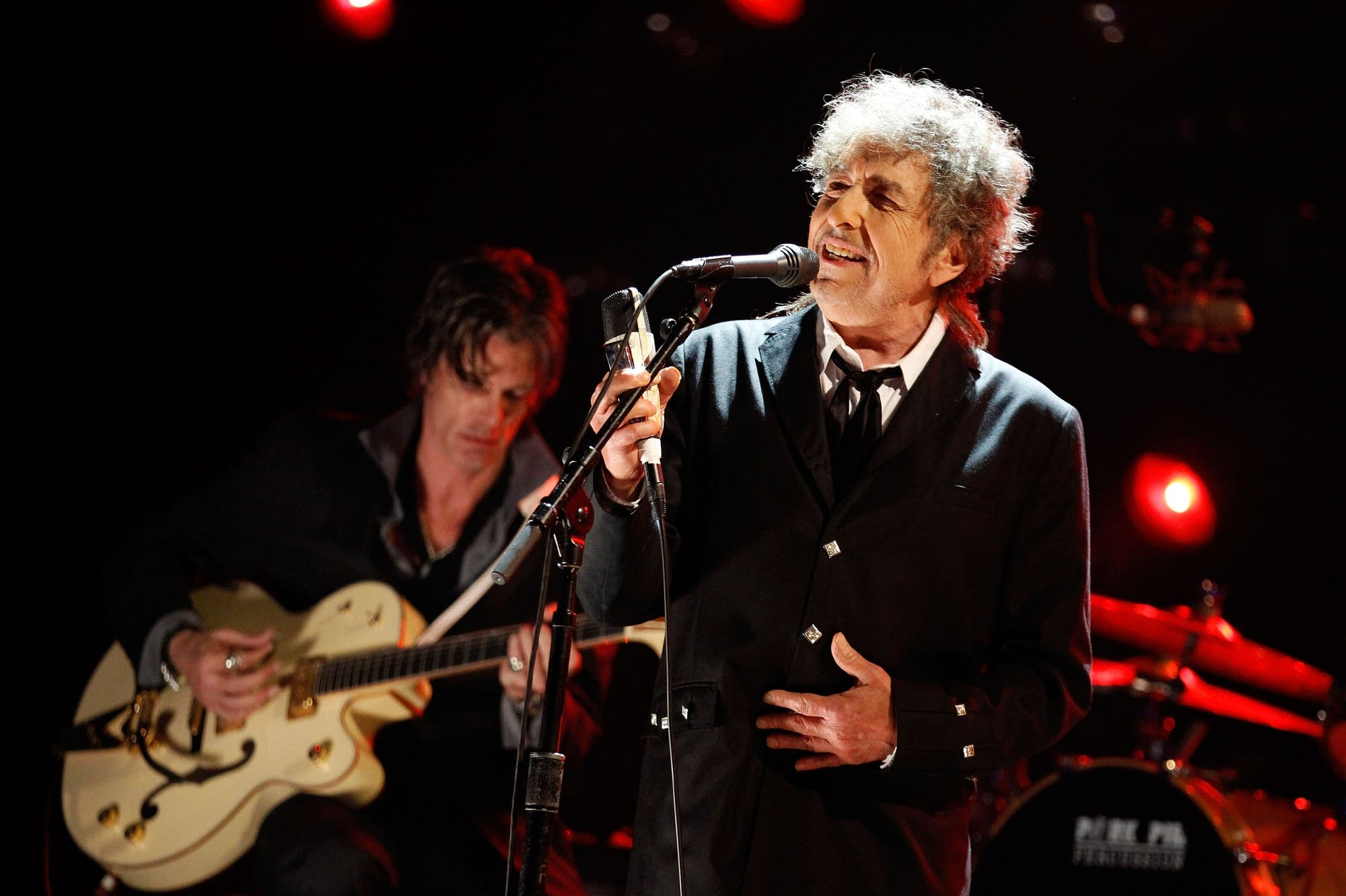 Bob Dylan performing onstage