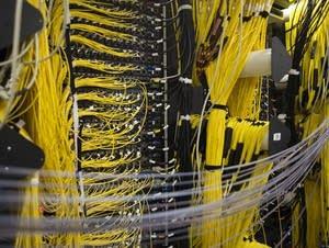 Fiber optic cables provide fast internet service.