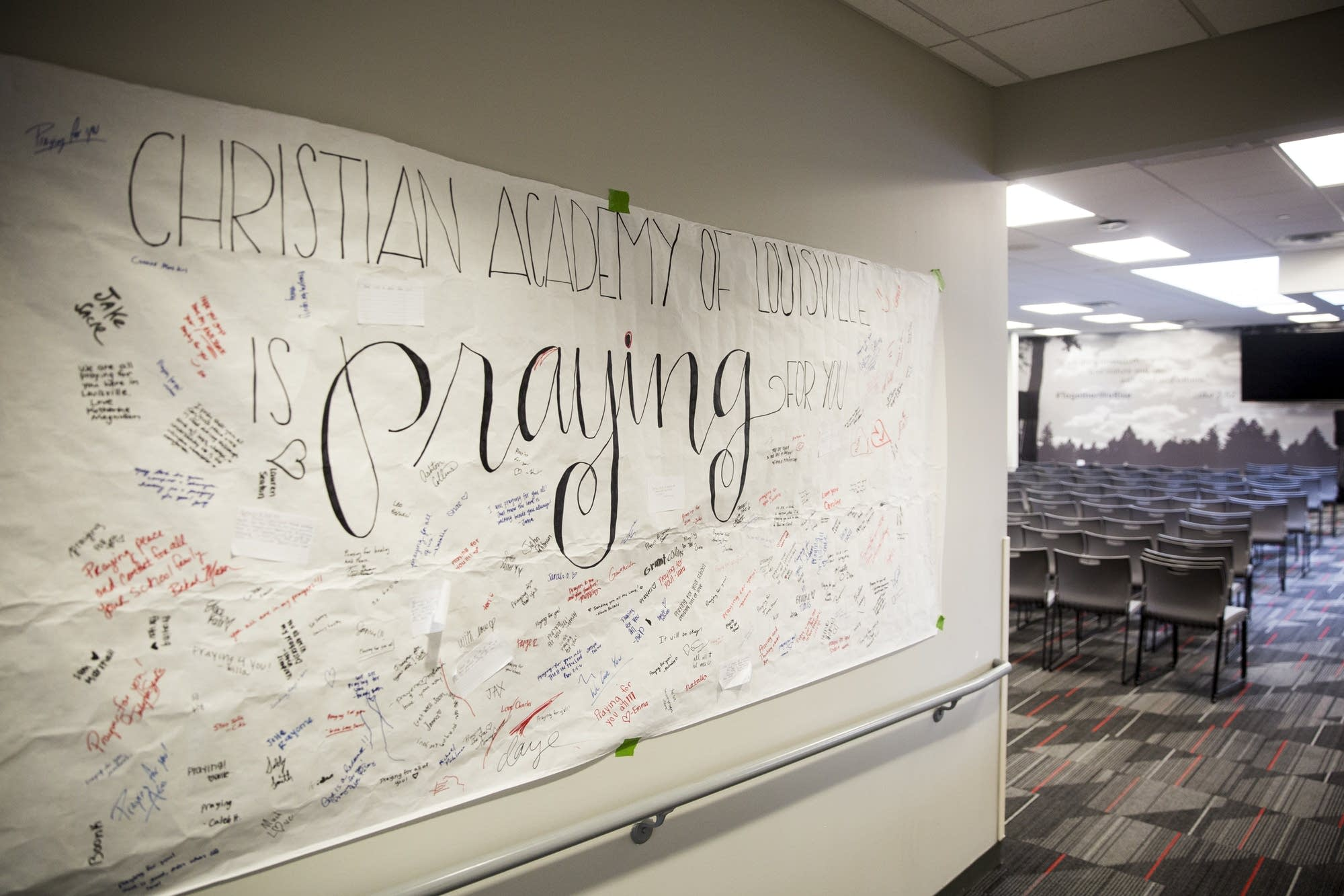 A banner hangs in support of Minnehaha Academy students.
