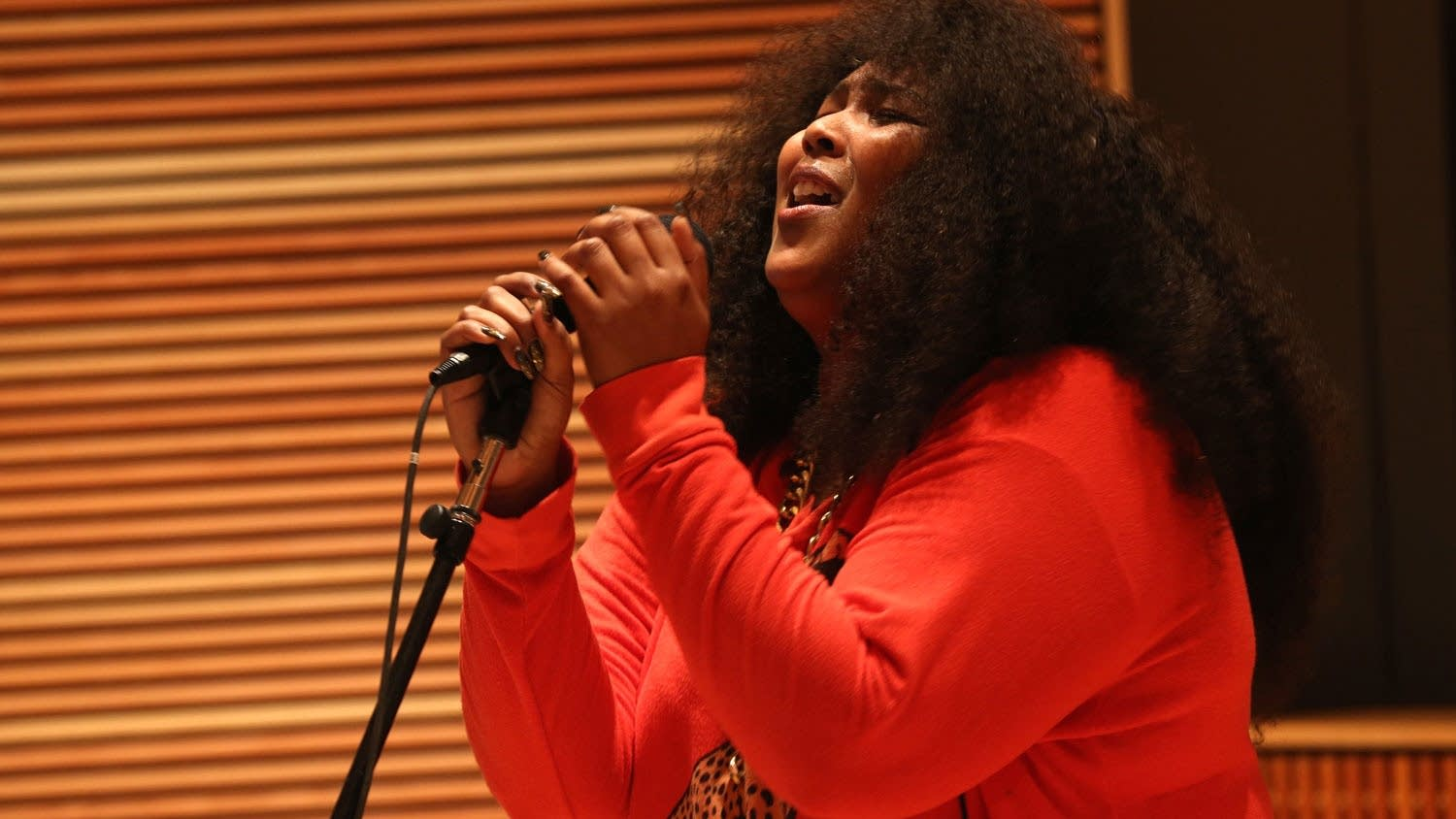 Lizzo performs in The Current studio