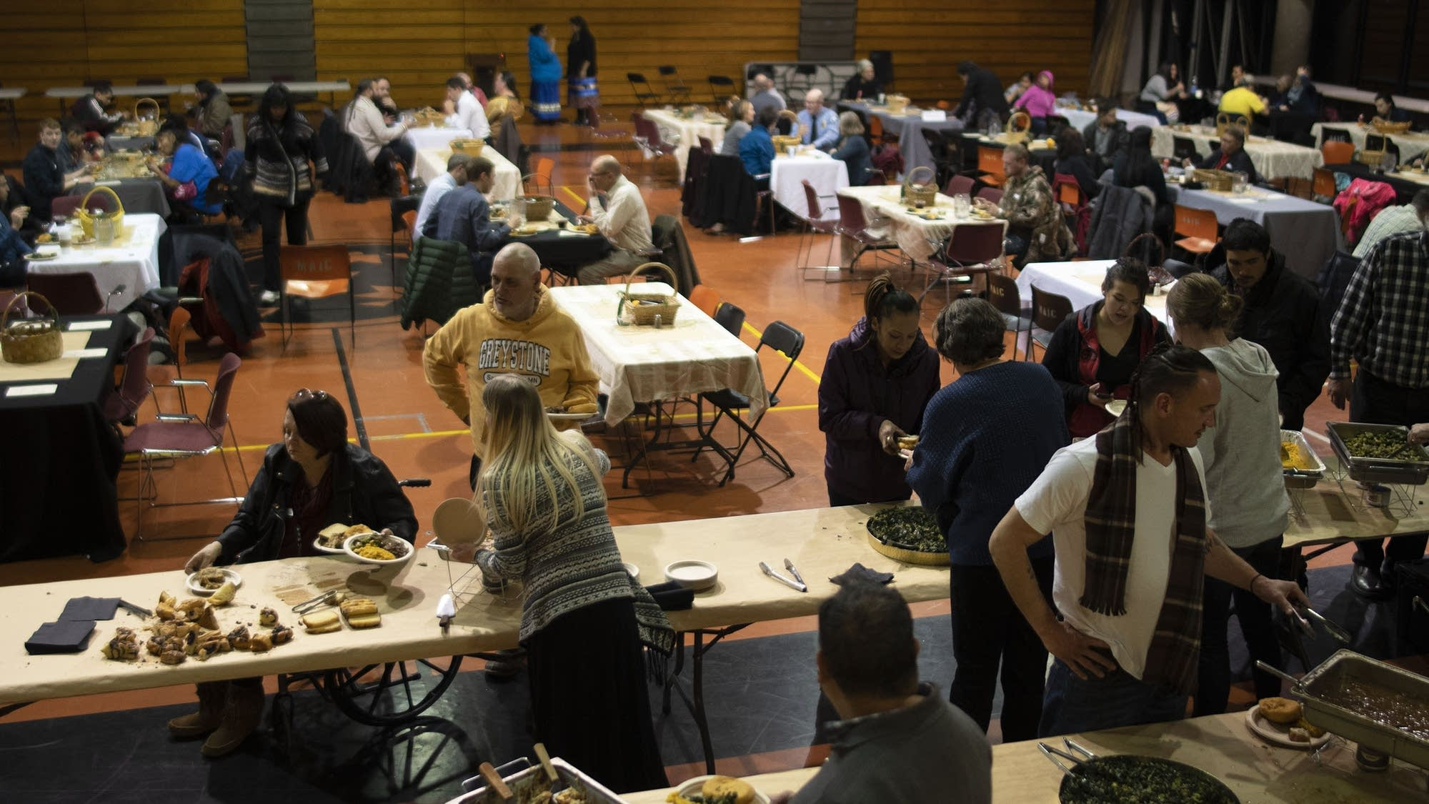 Community members came together for a feast.