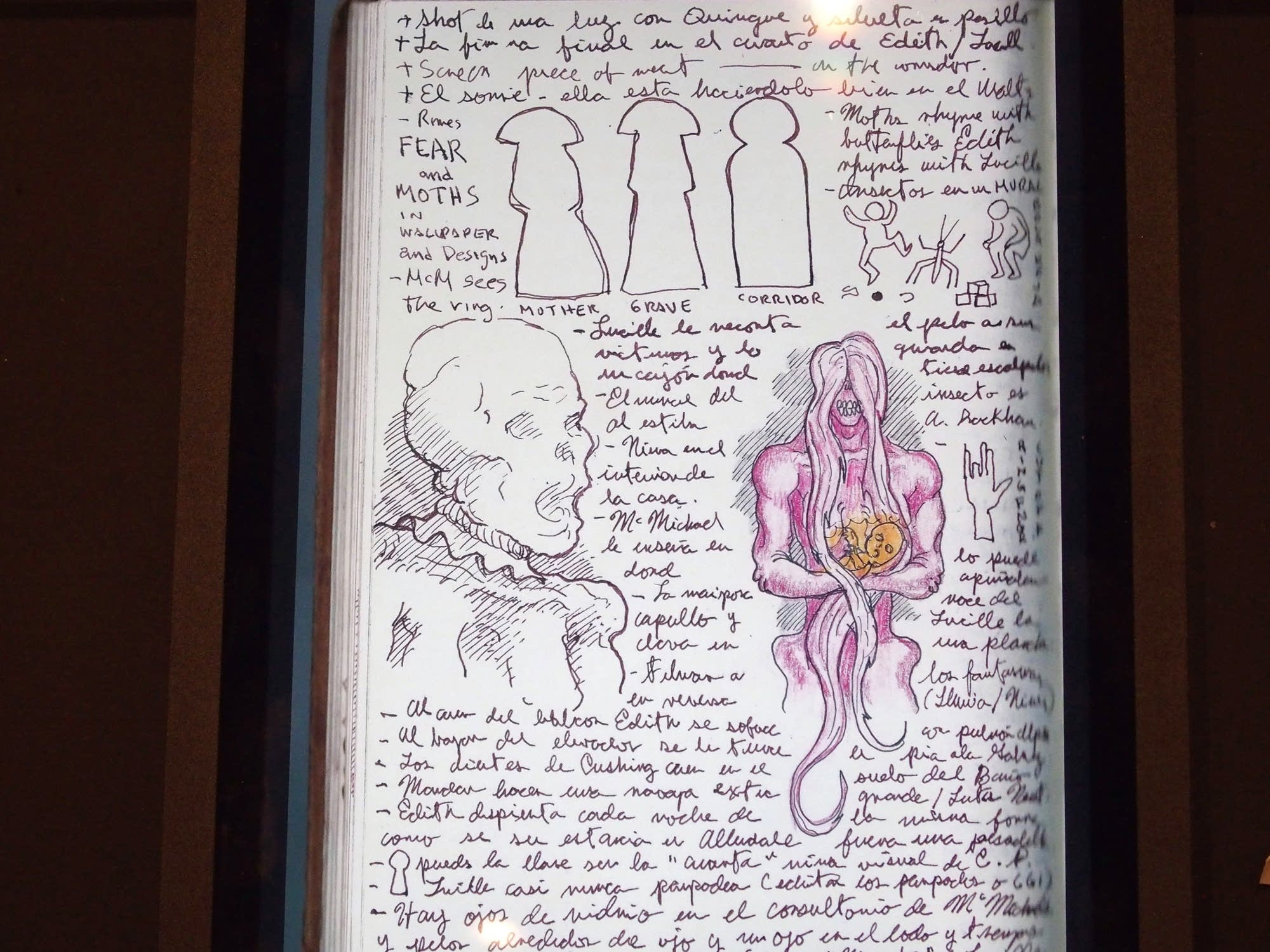 Four of del Toro's notebooks are included in the exhibit.