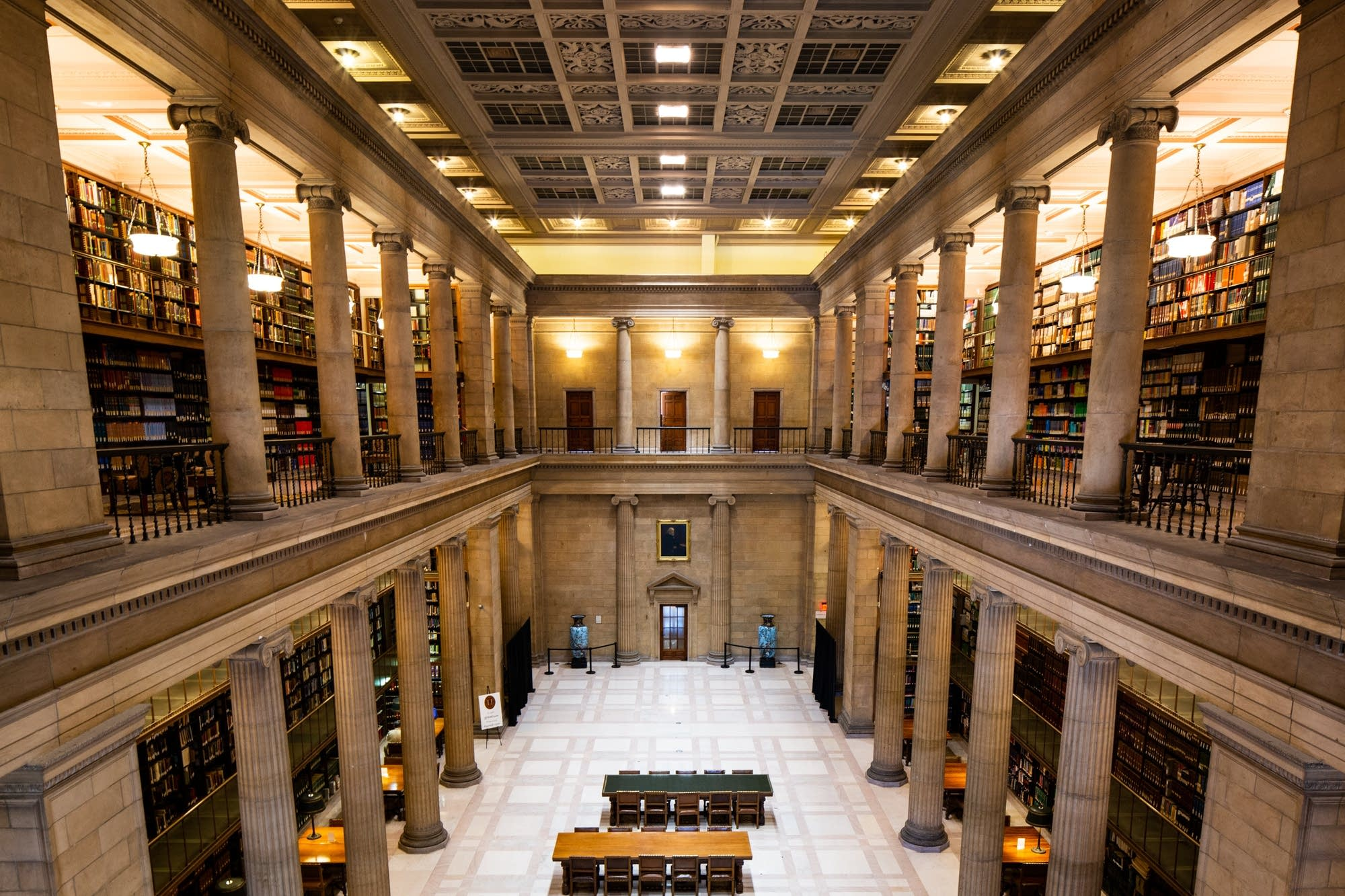 The reading room at the James J. Hill Center is seen from the 2nd-floor.