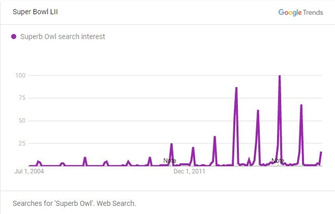 A graph showing the spikes in searches for 'Superb Owl' over the years.