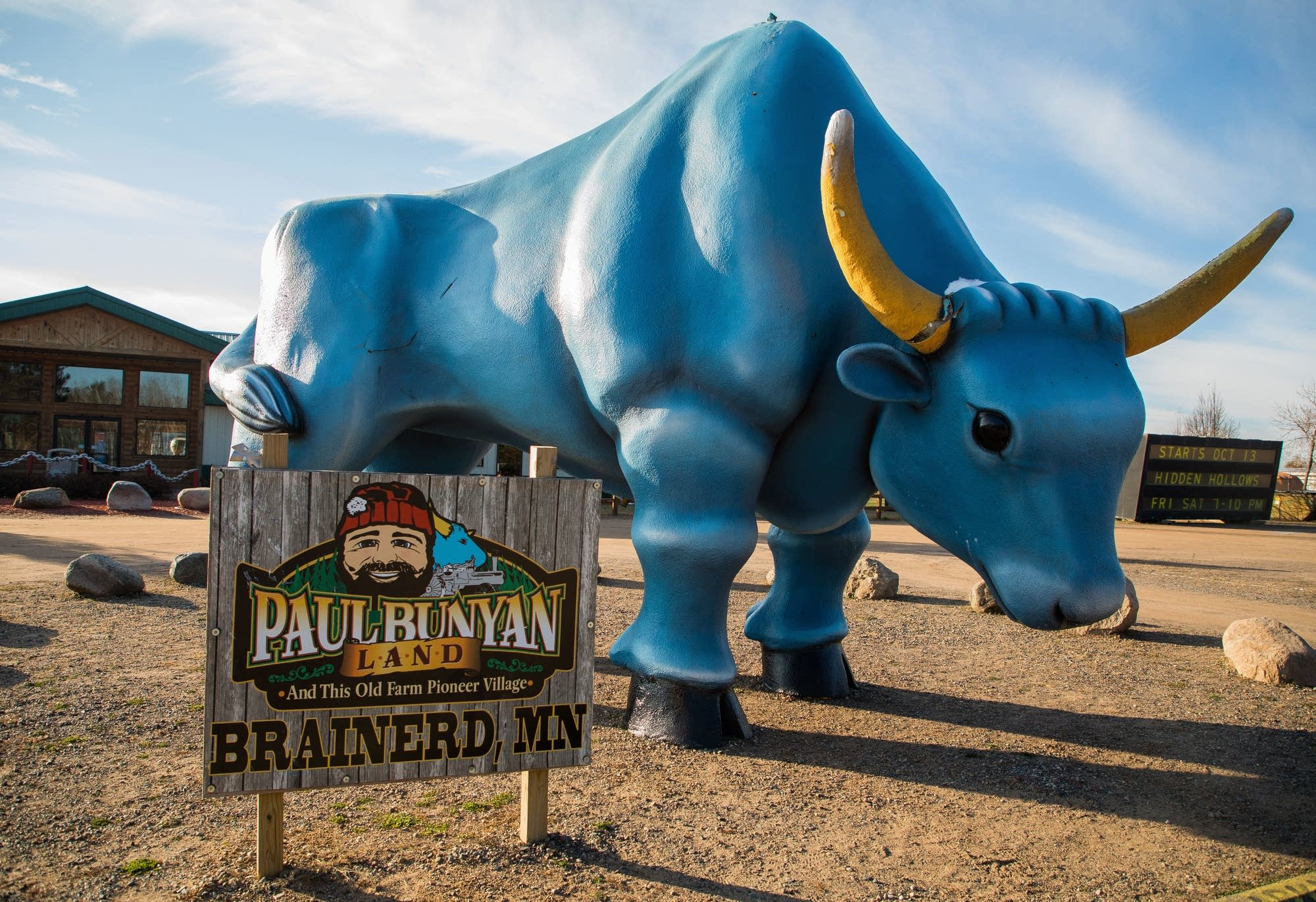 A giant Babe the Blue Ox attraction sits just outside Brainerd.
