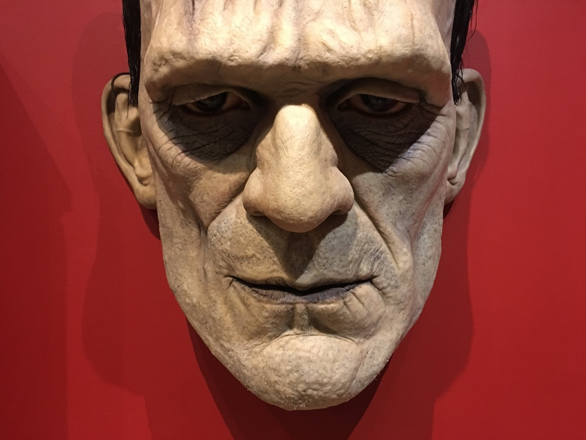 An outsize model of Frankenstein's monster's face