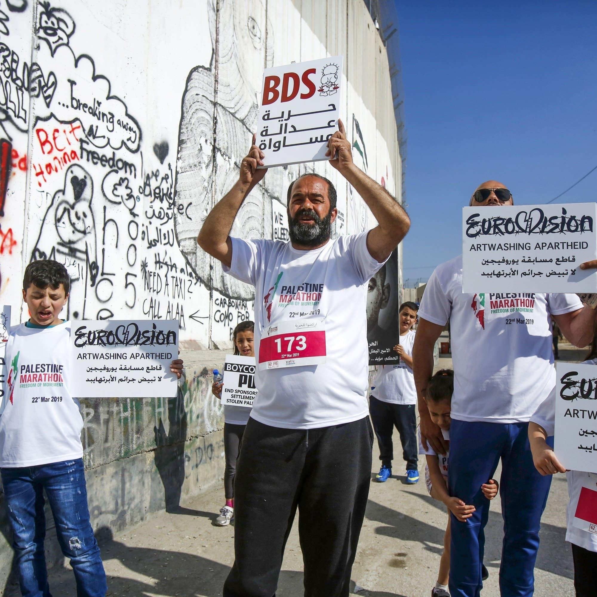 Protesters calling for the boycott of Eurovision.
