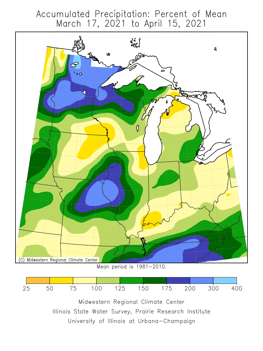 Precipitation departure from average over the past 30 days