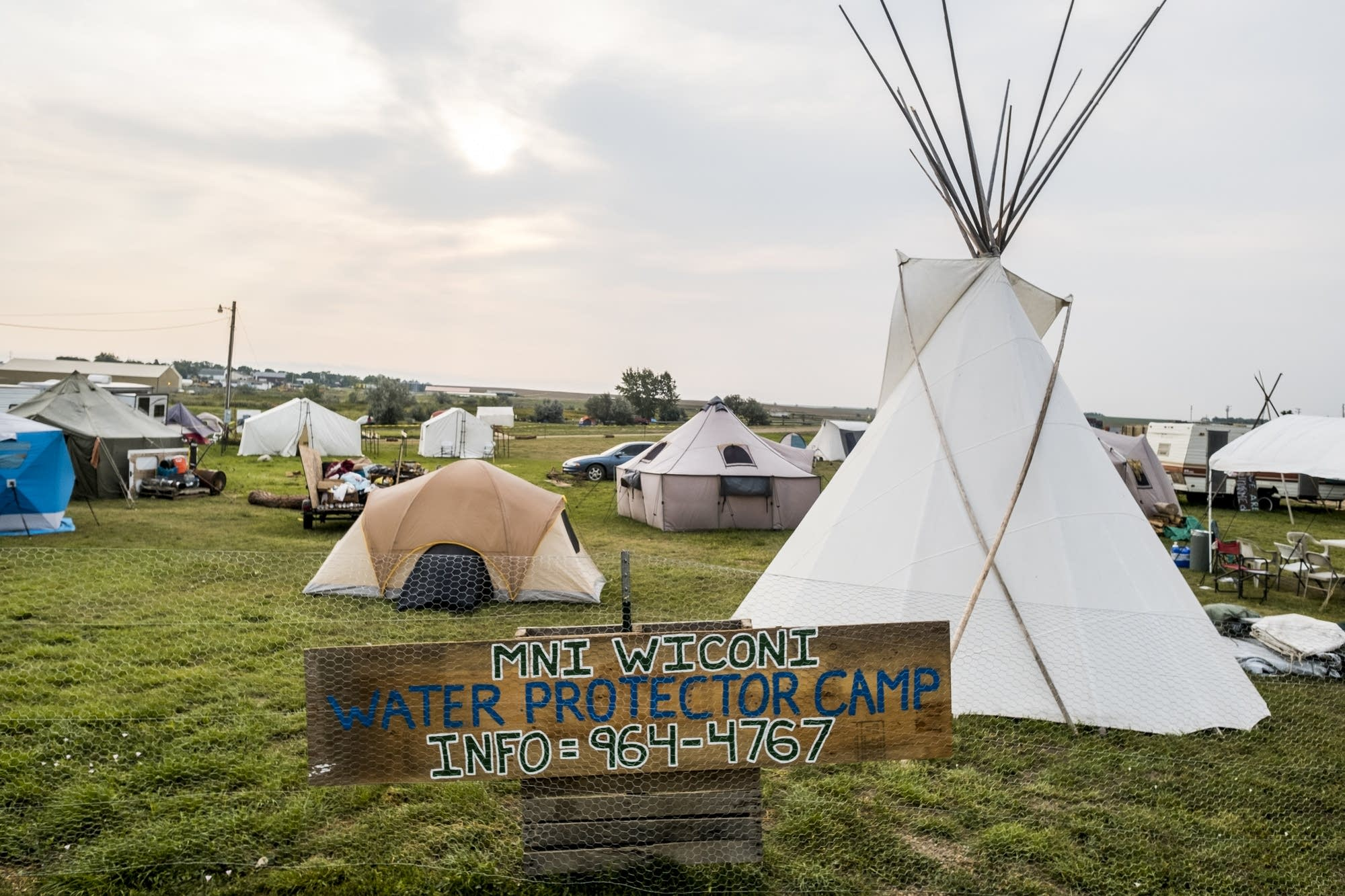 Tents and tepees occupy the powwow grounds of Eagle Butte, S.D.