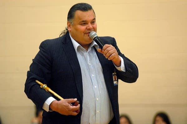 Ricky White, superintendent at Circle of Life, leads a pipe ceremony.