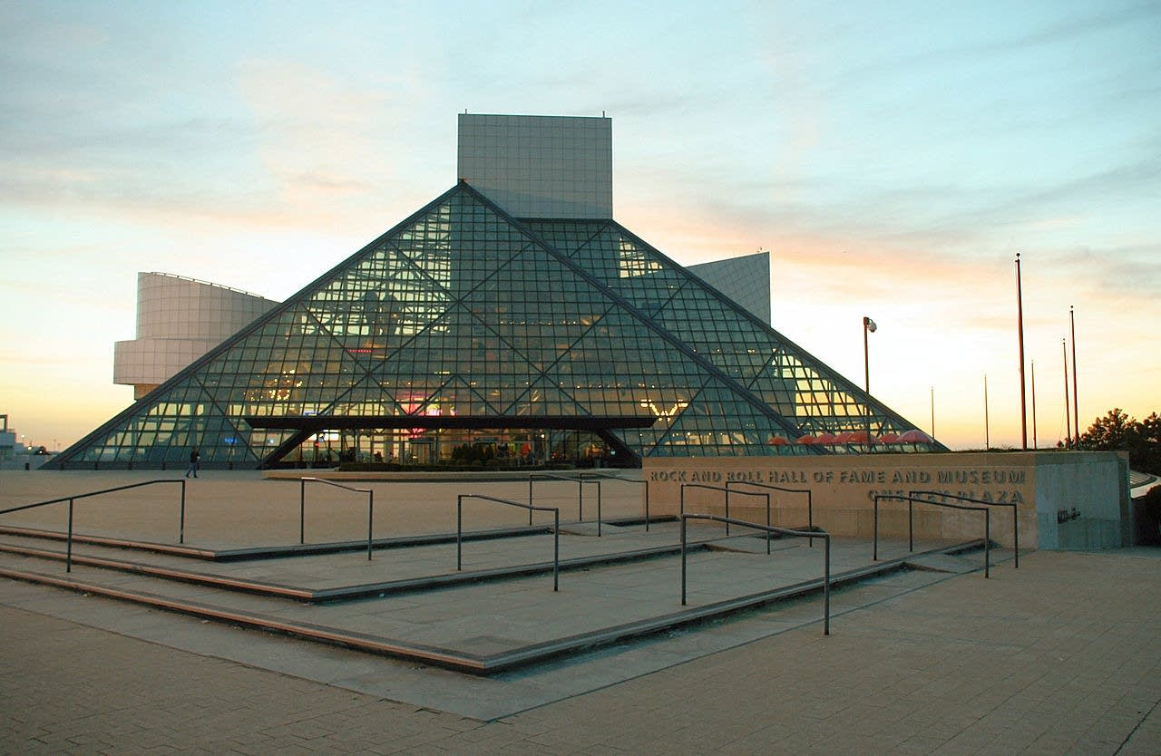 The Rock and Roll Hall of Fame at sunset.