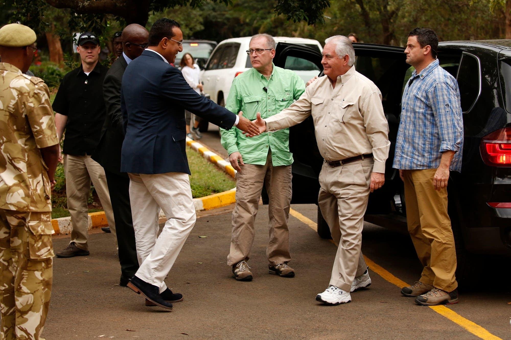 Rex Tillerson meets with Kenya's secretary of tourism Najib Balala