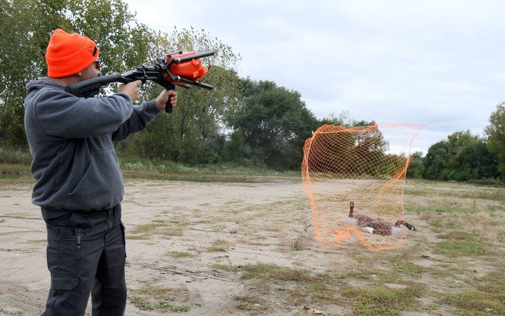 Demonstrating net gun