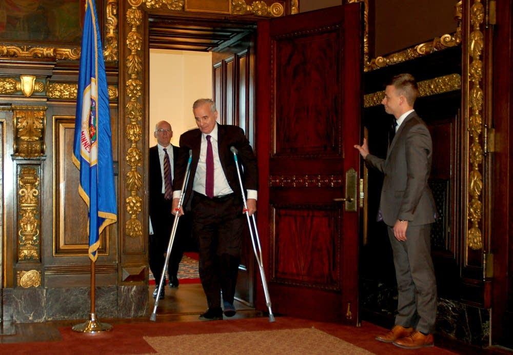 Gov. Mark Dayton on crutches