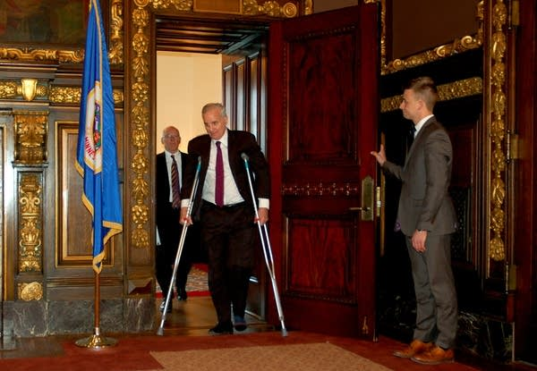 Gov. Mark Dayton on crutches
