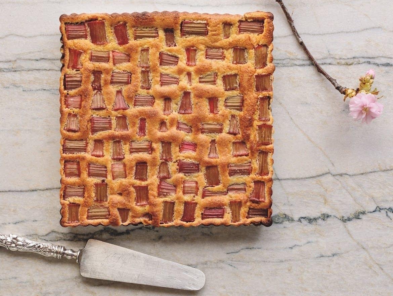 Red Rhubarb Amaretto Torte