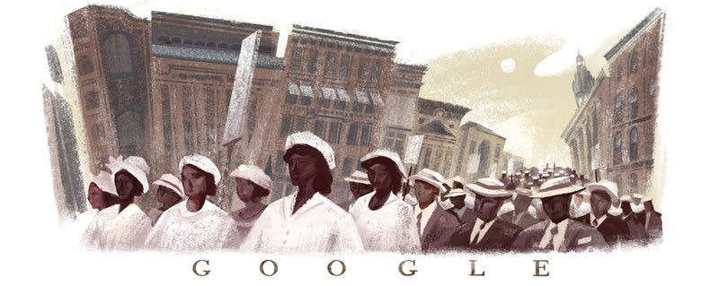 A doodle commemorating the 100th anniversary of the Silent Parade.