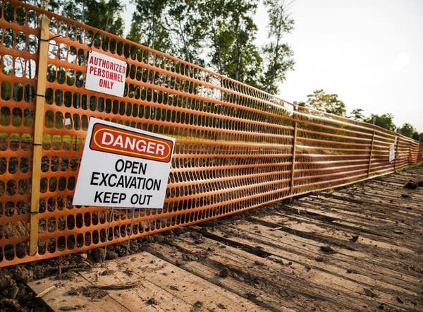 Construction area fenced off for an Enbridge pipeline build