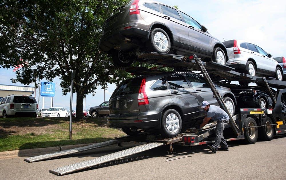 Unloading new cars