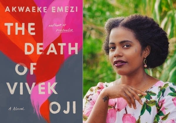 The cover of a book; a person wearing a pink and gray shirt.