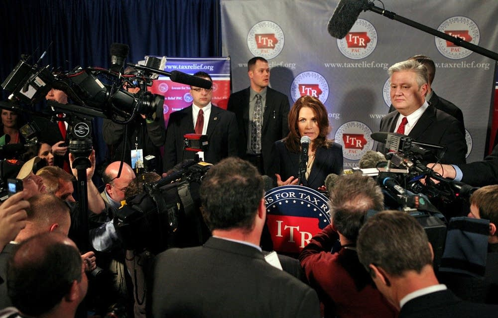 Bachmann speaks with media