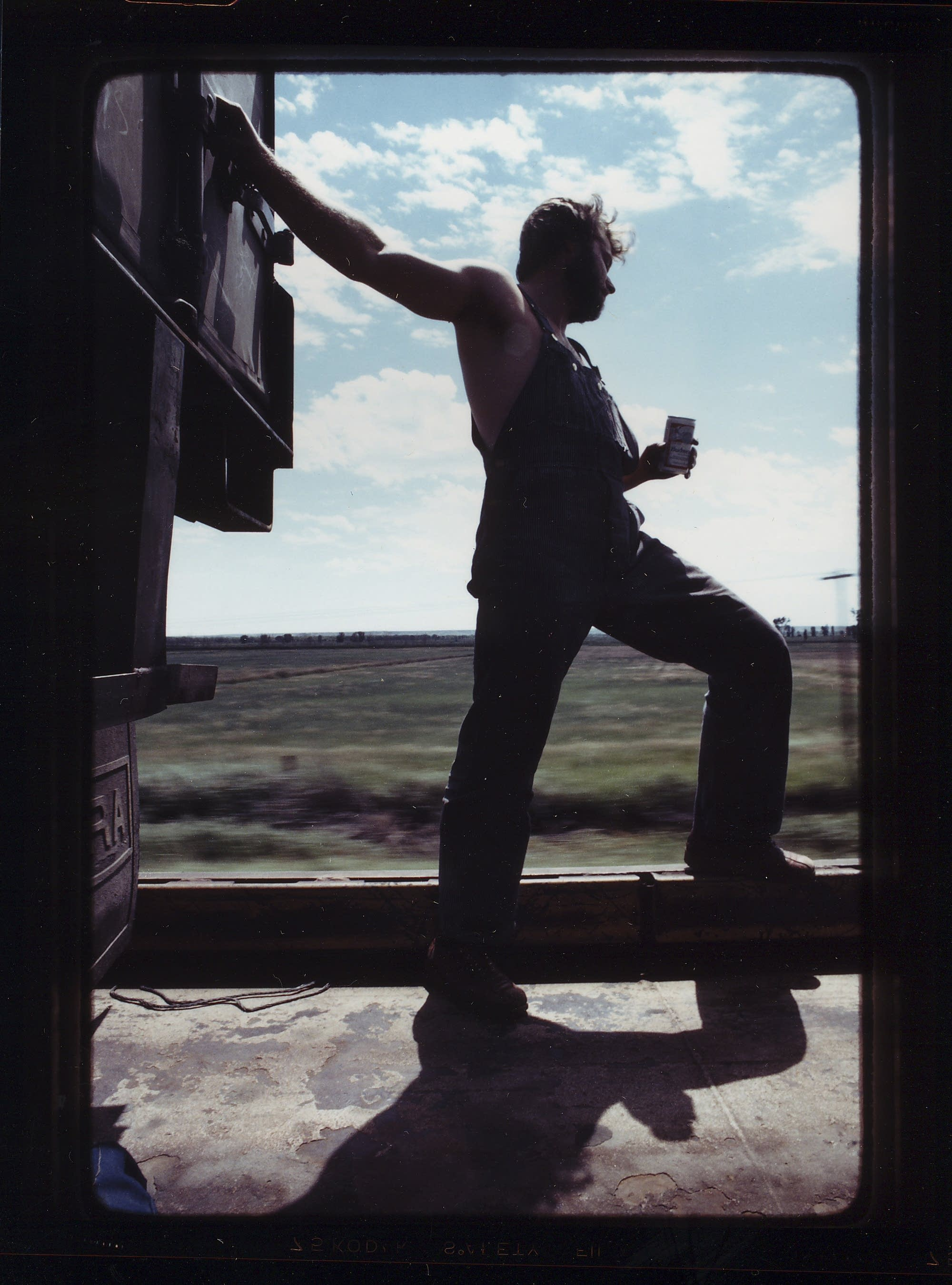 """Todd """"Adman"""" Waters on the road, 1985."""